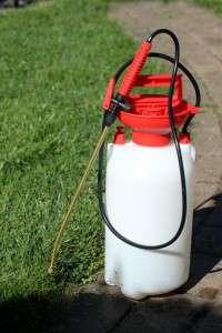 Pumpe fr Unkrautvernichtung steht im Garten